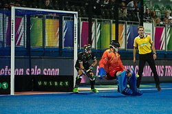 Germany's Nicolas Jacobi saves a English peanlty corner. England v Germany - Semi-Final Unibet EuroHockey Championships, Lee Valley Hockey & Tennis Centre, London, UK on 27 August 2015. Photo: Simon Parker