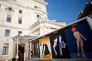 Ringstrasse. The Burgtheater. Delivery truck with ad for a modern dance festival.