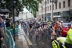 Julie Leth (DEN) of Wiggle Hi5 Cycling Team rides at the front in the neutral lap of the Prudential Ride London Classique - a 66 km road race, starting and finishing in London on July 29, 2017, in London, United Kingdom. (Photo by Balint Hamvas/Velofocus.com)