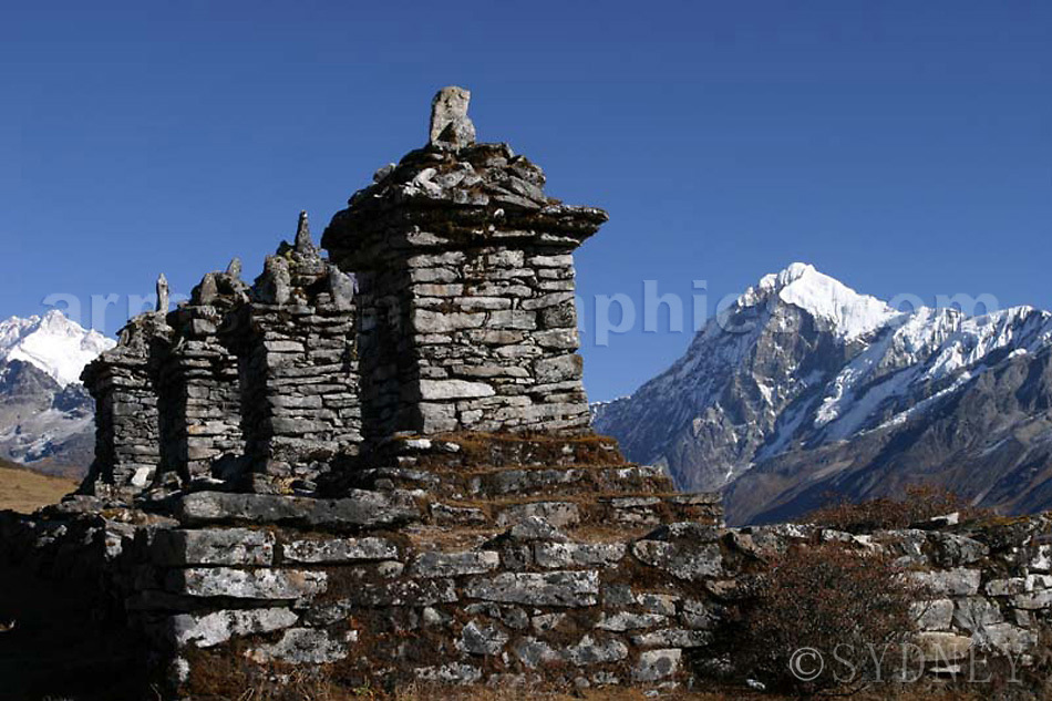The Chortens above Dzongri, Mt Pandim in the background