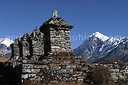 The Chortens above Dzongri, Mt Pandim in the background