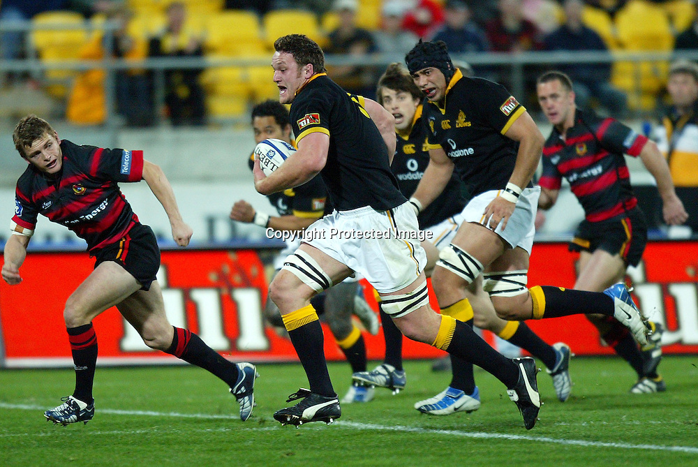 3 August 2004, Westpac Stadium, Wellington, <br /> New Zealand, Rugby Union, NPC Div 1<br /> Wellington Lions vs Canterbury<br /> Lion's Kristian Ormsby during Wellington's 34-22 win over Canterbury on Friday night.<br /> Please Credit: Marty Melville/Photosport