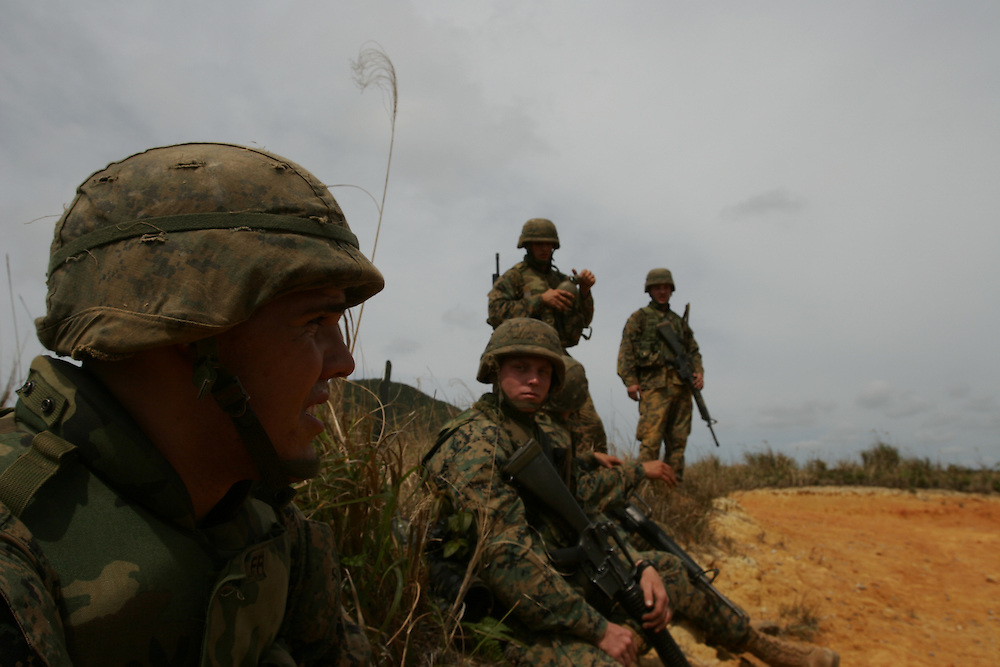 U.S.  marines  from Camp Schwab,  Second Platoon of the Combat Engineer Company train  on Okinawa. ..October 29 2005, United States and Japan had agreed to shift 7,000 Marines from Okinawa to Guam during the next six years. There are  more than 14,000 U.S. Marines in Japan, and almost all of them are stationed in Okinawa.