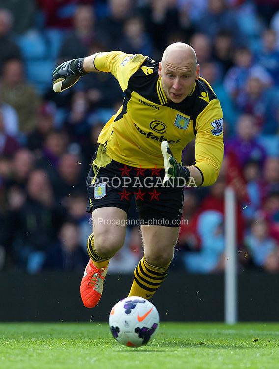BIRMINGHAM, ENGLAND - Saturday, April 19, 2014: Aston Villa's goalkeeper Brad Guzan in action against Southampton during the Premiership match at Villa Park. (Pic by David Rawcliffe/Propaganda)
