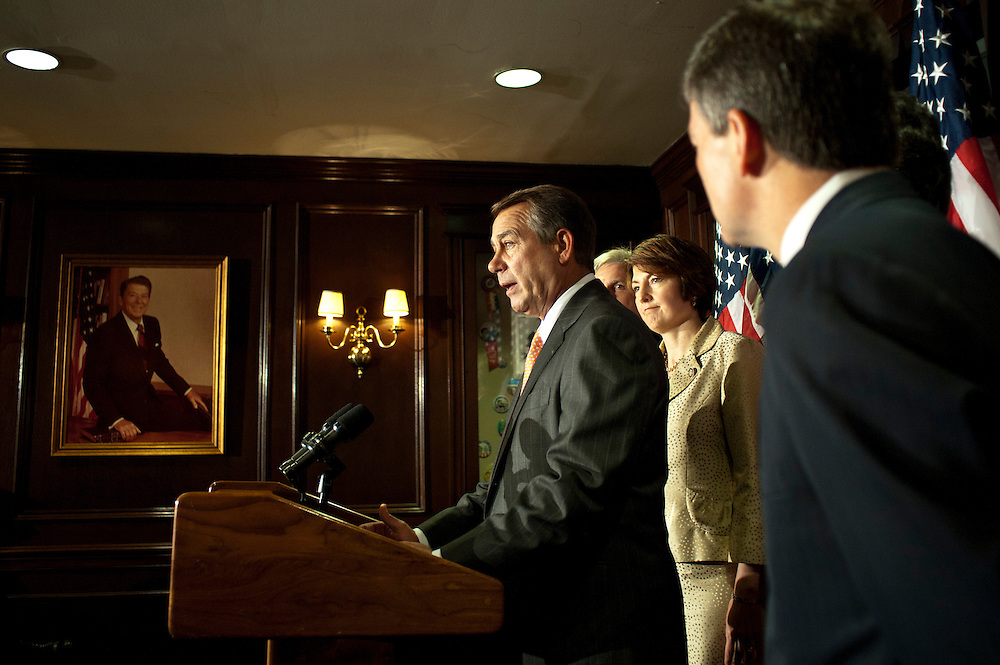 Speaker of the House, JOHN BOEHNER (R-OH), speaks to the media at a press conference at the Headquarters of the Republican National Committee on Capitol Hill on Tuesday. BOEHNER is advancing a plan that would start with an initial $1.2 trillion in savings over 10 years, but would only increase the debt limit for a few months.