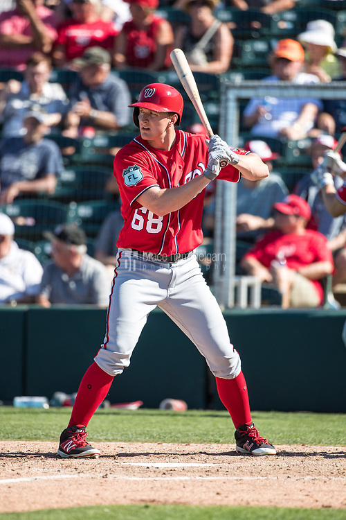FORT MYERS, FL- FEBRUARY 26: Andrew Stevenson #68 of the Washington Nationals bats against the Minnesota Twins on February 26, 2017 at Hammond Stadium in Fort Myers, Florida. (Photo by Brace Hemmelgarn) *** Local Caption *** Andrew Stevenson
