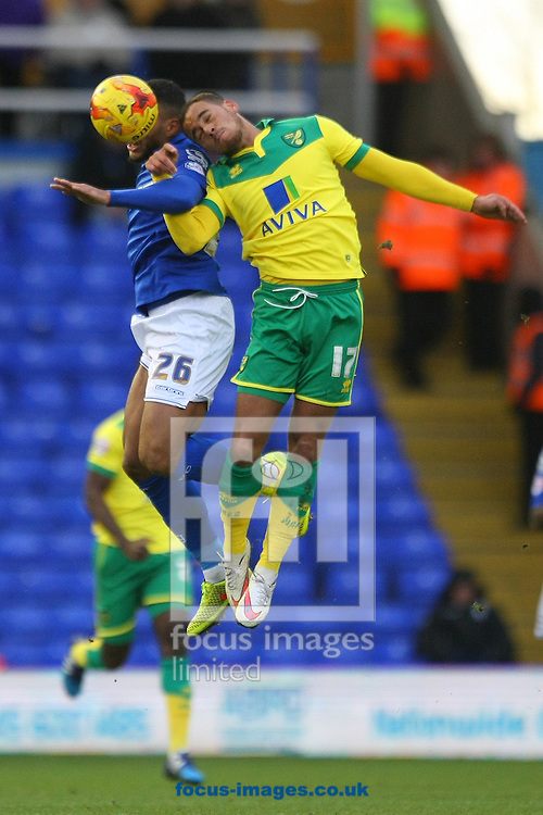David Davis of Birmingham and Elliott Bennett of Norwich in action during the Sky Bet Championship match at St Andrews, Birmingham<br /> Picture by Paul Chesterton/Focus Images Ltd +44 7904 640267<br /> 31/01/2015