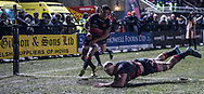 Dragons' Rynard Landman dives over the try line scores his sides second try of the game.<br /> <br /> Photographer Simon Latham/Replay Images<br /> <br /> Guinness PRO14 - Dragons v Edinburgh - Friday 23rd February 2018 - Eugene Cross Park - Ebbw Vale<br /> <br /> World Copyright © Replay Images . All rights reserved. info@replayimages.co.uk - http://replayimages.co.uk