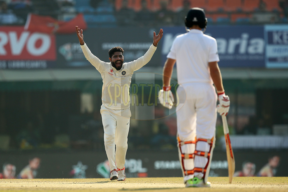 Ravindra Jadeja of India unsuccessfully appeals during day 3 of the third test match between India and England held at the Punjab Cricket Association IS Bindra Stadium, Mohali on the 28th November 2016.Photo by: Prashant Bhoot/ BCCI/ SPORTZPICS