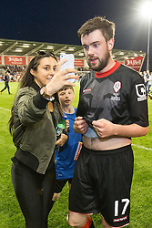 Image ©Licensed to i-Images Picture Agency. 07/08/2014. Salford, United Kingdom. Class of 92 Manchester. AJ Bell Stadium. Woman poses for selfie with Jack Whitehall . Class of 92 squad play Salford City FC at the AJ Bell Stadium . Picture by i-Images