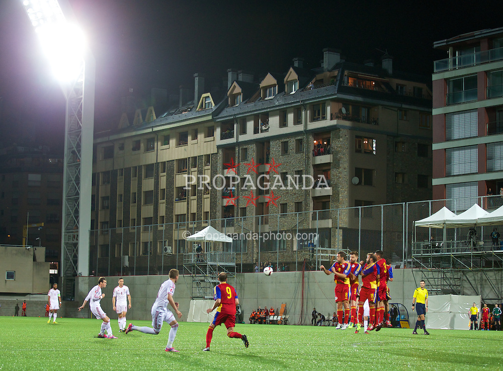 ANDORRA LA VELLA, ANDORRA - Tuesday, September 9, 2014: Wales' Gareth Bale scores the second goal against Andorra during the opening UEFA Euro 2016 qualifying match at the Camp d'Esports del M.I. Consell General. (Pic by David Rawcliffe/Propaganda)
