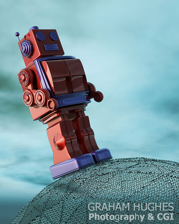 1950's Toy Robot on metal planet
