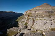 View over the Ordesa Valley from Clavijas de Soaso with Tobacor point, Ordesa National Park and Monte Perdido, Torla, Ordesa Valley, Huesca province, Aragón Pyrenees, Aragon ,Spain, Europe