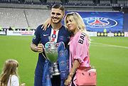 Mauro Icardi of PSG and his wife Wanda Nara celebrate the victory following the French Cup final football match between Paris Saint-Germain (PSG) and Saint-Etienne (ASSE) on Friday 24, 2020 at the Stade de France in Saint-Denis, near Paris, France - Photo Juan Soliz / ProSportsImages / DPPI