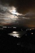 Night view of Santa Giustina lake