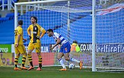 Reading midfielder Hal Robson-Kanu scores a header to make it 2-1 during the Sky Bet Championship match between Reading and Fulham at the Madejski Stadium, Reading, England on 5 March 2016. Photo by Adam Rivers.