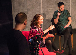 Performed within a setting that recalls TV's After Dark, a conversation moves from general chit-chat to soul bearing and violent outbursts. The Destroyed Room challenges our ability to watch human suffering through rolling news and YouTube yet detach ourselves from what we are witnessing.<br /> <br /> Pauline Goldsmith (red), Elicia Daly and Barnaby Power performing in the 2016 Edinburgh International Festival.