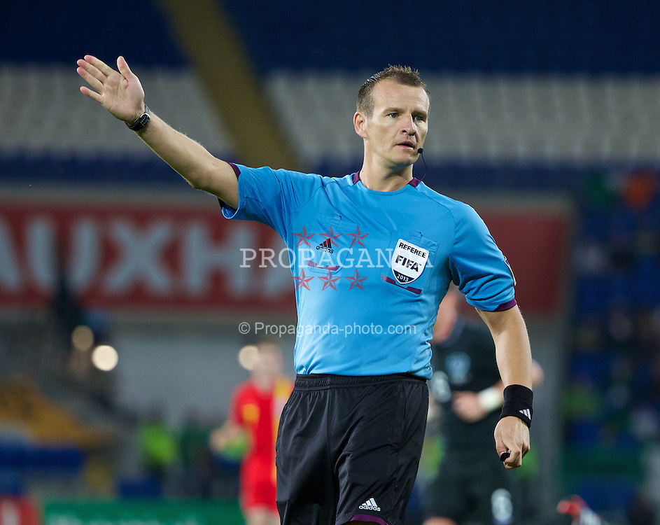 CARDIFF, WALES - Wednesday, August 14, 2013: Referee  Pavel Kralovec during an International Friendly between Wales and Republic of Ireland at the Cardiff City Stadium. (Pic by David Rawcliffe/Propaganda)