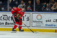 KELOWNA, BC - MARCH 03:  Reece Newkirk #12 of the Portland Winterhawks skates with the puck against the Kelowna Rockets at Prospera Place on March 3, 2019 in Kelowna, Canada. (Photo by Marissa Baecker/Getty Images)