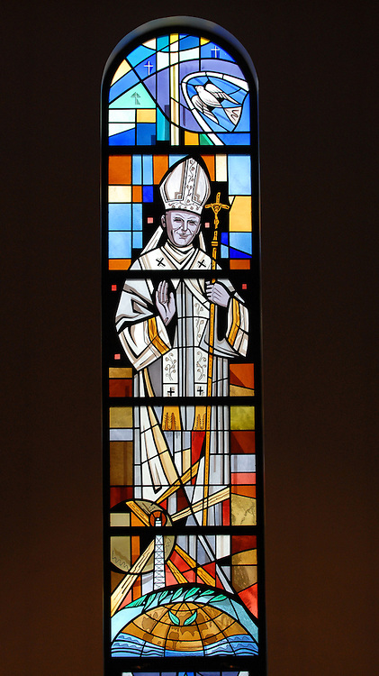 Stained glass image of St. John Paul II inside Our Lady Queen of Peace Church in Milwaukee. (photo by Sam Lucero)