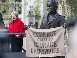 © Licensed to London News Pictures. 24/04/2018. London, UK. British Prime Minister Theresa May speaking at the unveiling of a statue of Millicent Fawcett in Parliament Square, London. Dame Millicent, a leading Suffragist and campaigner for equal rights for women, is the first woman to be commemorated with a statue in Parliament Square. Photo credit: Ben Cawthra/LNP