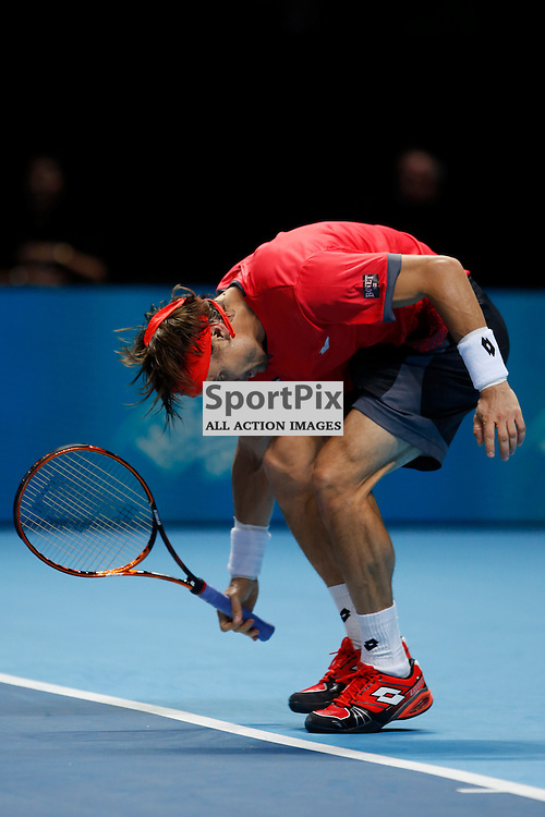 David Ferrer gets annoyed during a match between Stan Wawrinka and David Ferrer at the ATP World Tour Finals 2015 at the O2 Arena, London.  on November 18, 2015 in London, England. (Credit: SAM TODD | SportPix.org.uk)