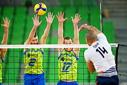 Nimir Abdel-Aziz of the Netherlands and Alen Pajenk, Tine Urnaut of Slovenia during friendly volleyball match between National Men teams of Slovenia and Netherlands, on December 30, 2019, in Arena Stozice, Ljubljana, Slovenia. Photo by Sinisa Kanizaj / Sportida