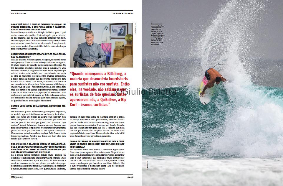 Gordon Merchant, Billabong founder, published in Hardcore magazine, Brazil, June 2017