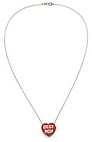 best mom red heart necklace with a silver chain
