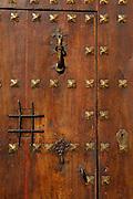 Wooden door detail at Lower Albaicin, Granada,Andalucia,Spain,Europe