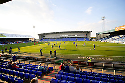A general view of Boundary Park as the Oldham Athletic team warm up  - Mandatory byline: Matt McNulty/JMP - 07966386802 - 12/08/2015 - FOOTBALL - Boundary Park -Oldham,England - Oldham Athletic v Middlesbrough - Capital One Cup