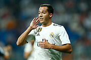 Real Madrid's Spanish midfielder Lucas Vazquez gestures during the Spanish championship Liga football match between Real Madrid CF and Leganes on September 1, 2018 at Santiago Bernabeu stadium in Madrid, Spain - Photo Benjamin Cremel / ProSportsImages / DPPI