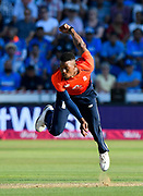 Chris Jordan of England bowling during the International T20 match between England and India at the SWALEC Stadium, Cardiff, United Kingdom on 6 July 2018. Picture by Graham Hunt.