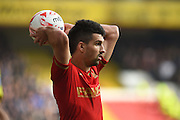 Nottingham Forest defender Eric Lichaj takes a throw in during the Sky Bet Championship match between Nottingham Forest and Sheffield Wednesday at the City Ground, Nottingham, England on 12 March 2016. Photo by Jon Hobley.