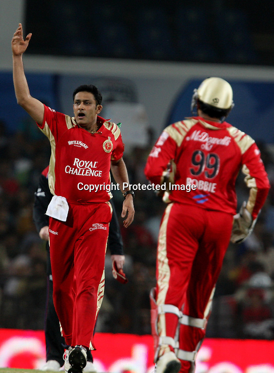 Royal Challengers Bangalore Captain Anil Kumble Celebrates Andrew Symonds Wicket During The Indian Premier League - 46th match Twenty20 match | 2009/10 season Played at Vidarbha Cricket Association Stadium, Jamtha, Nagpur 12 April 2010 - day/night (20-over match)