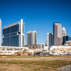 Downtown Charlotte skyline skyscraper buildings with Duke Energy Center, Bank of America Corporate Center, Hearst Tower, One Wells Fargo Center, Two Wells Fargo Center, Three Wells Fargo Center, and the Westin building. Charlotte, North Carolina is a major city in the Eastern United States of America.