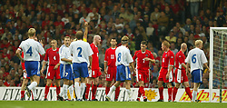 CARDIFF, WALES - Wednesday, September 10, 2003: Wales' Jason Koumas (#8) is shown the red card against Finland during the Euro 2004 qualifying match at the Millennium Stadium. (Pic by David Rawcliffe/Propaganda)
