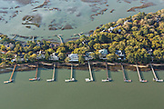 Aerial view of luxury homes and docks in Kiawah Island, SC.
