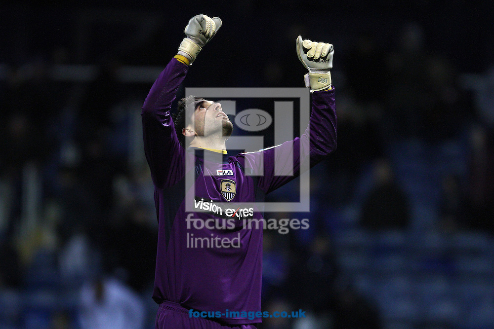 Picture by Daniel Chesterton/Focus Images Ltd +44 7966 018899.03/11/2012.Bartosz Bialkowski of Notts County celebrates at the end of the The FA Cup match at Fratton Park, Portsmouth.