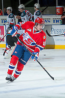 KELOWNA, CANADA -JANUARY 29: Markson Bechtold LW #12 of the Spokane Chiefs skates during warm up against the Kelowna Rockets on January 29, 2014 at Prospera Place in Kelowna, British Columbia, Canada.   (Photo by Marissa Baecker/Getty Images)  *** Local Caption *** Markson Bechtold;