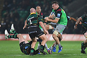 Harlequins back row Alex Dombrandt (8) runs the ball during the Gallagher Premiership Rugby match between Northampton Saints and Harlequins at Franklins Gardens, Northampton, United Kingdom on 1 November 2019.