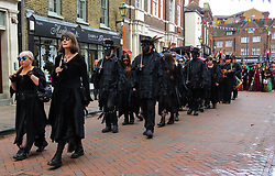 © Licensed to London News Pictures.01/05/2017. Rochester, UK. People take part in the May Day Sweeps Festival in Rochester Town Centre. The festival celebrates the traditional holiday chimney sweeps enjoyed on 1 May each year.<br /> Locally, they used to mark the occasion by staging a procession through the streets. Photo credit:Graham Long/LNP