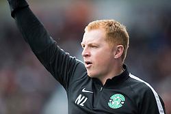 Hibernian's manager Neil Lennon cele Hibernian's Jason Cummings goal. half time : Falkirk 1 v 1 Hibernian, the first Scottish Championship game of season 2016/17, played 6/8/2016 at The Falkirk Stadium.