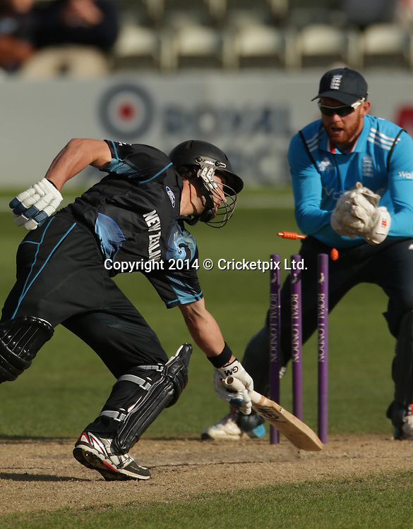 Dean Brownlie is stumped by wicket keeper Jonny Bairstow off the bowling of Stephen Parry during the Royal London One Day Series match between England Lions and New Zealand A at New Road, Worcester. Photo: Graham Morris/www.cricketpix.com (Tel: +44 (0)20 8969 4192; Email: graham@cricketpix.com) 12082014