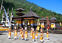 Ceremonial dance of virgins at the Puri Agung Temple in Bali, Indonesia.