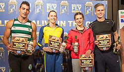 30.05.2015, Altstadt, Innsbruck, AUT, Golden Roof Challenge, Siegerehrung, im Bild die Sieger v.l. Edi Maia (POR, Stabhochsprung Maenner), Fabiana Murer (BRA, Weitsprung Frauen), Alinia Rotaru (ROM, Weitsprung Maenner) und Radec Juska (CZE, Weitsprung Maenner) // the winners Edi Maia of Portugal (L, Pole Vault), Fabiana Murer of Brasil (LM, Pole Vault), Alinia Rotaru of Romania (LR, long jump) and Radec Juska of Czech Republic (L, long jump) on podium during Golden Roof Challenge  in Innsbruck, Austria on 2015/05/30. EXPA Pictures © 2015, PhotoCredit: EXPA/ Jakob Gruber