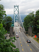 Lions Gate Bridge in Vancouver, BC, Canada on June 18, 2011. View from overpass in Stanley Park.