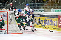 20.02.2015, Curt-Frenzel-Stadion, Augsburg, GER, DEL, Augsburger Panther vs EHC Red Bull München, 49. Runde, im Bild l-r: im Zweikampf, Aktion, mit Daniel Weiss #57 (Augsburger Panther) und Francois Methot #38 (EHC Red Bull Muenchen) // during Germans DEL Icehockey League 49th round match between Adler Mannheim and Grizzly Adams Wolfsburg at the Curt-Frenzel-Stadion in Augsburg, Germany on 2015/02/20. EXPA Pictures © 2015, PhotoCredit: EXPA/ Eibner-Pressefoto/ Kolbert<br /> <br /> *****ATTENTION - OUT of GER*****