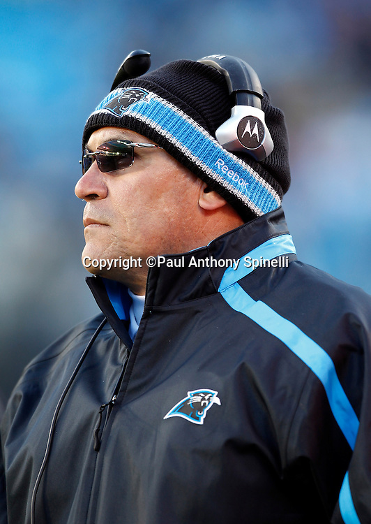Carolina Panthers head coach Ron Rivera looks on during the NFL week 14 football game against the Atlanta Falcons on Sunday, December 11, 2011 in Charlotte, North Carolina. The Falcons won the game 31-23. ©Paul Anthony Spinelli