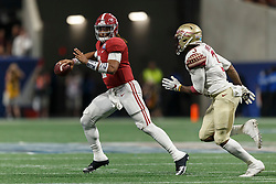 Alabama Crimson Tide quarterback Jalen Hurts (2) looks to pass against Florida State Seminoles defensive back Derwin James (3) during the Chick-fil-A Kickoff NCAA football game on Saturday, September 2, 2017, in Atlanta. (Paul Abell via Abell Images for Chick-fil-A Kickoff Game)
